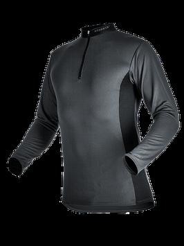 Zipp-Neck Shirt Langarm rot/gelb
