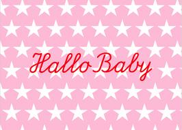 "Postkarte ""Hallo Baby"" Rosa"