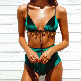 High Waist Bikini Green Velvet