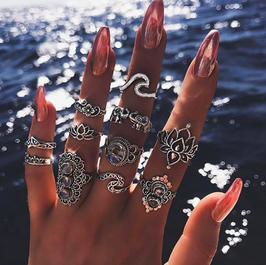 Ring Set Lotus Wave