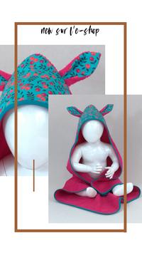 Cape de bain bébé oreilles de lapin personnalisée
