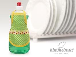 Kirschenwebband auf grün gepunktetem Stoff mit gelbem Schrägband – Spülischürze