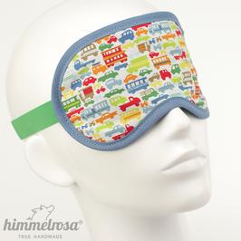 Bunte Fahrzeuge, blau/weiß/grün – Schlafbrille