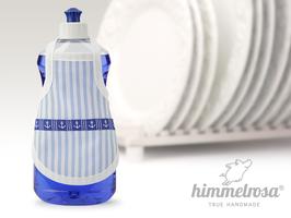 Anker auf hellblau-weiß gestreiftem Stoff .weiß – Spülischürze