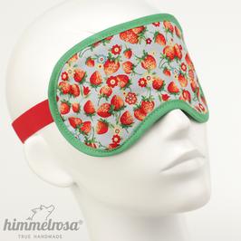 Erdbeermuster, hellblau/grün/rot – Schlafbrille