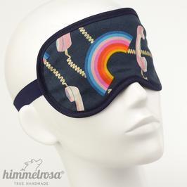 Telefonhörer & Regenbogen, dunkelblau/gold – Schlafbrille