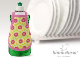 fröhliche Herzblumen auf gelb.pink – Spülischürze