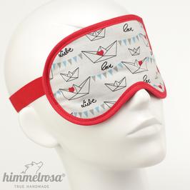 Papierschiffchen mit Herz, schwarz/weiß/rot – Schlafbrille