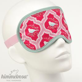 Vogel-Ornamente, pink/rosa/mattes mint – Schlafbrille