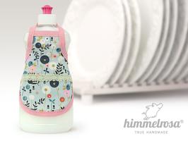 stilisierte Blumen auf hellblau.rosa – Spülischürze
