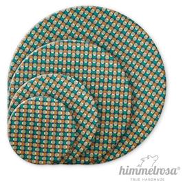 Retromuster aus Kreisen auf blaugrün – Abdeckhaube