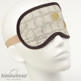 Vogelmuster, grau/beige/gold/braun – Schlafbrille