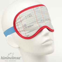 Tabelle mit Zahlen, weiß/blau/rot – Schlafbrille