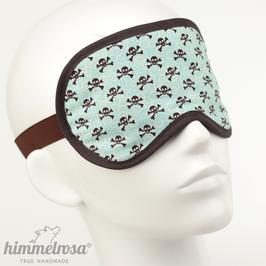 Totenkopf-Muster, türkis/braun – Schlafbrille