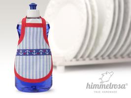 Maritim - hellblau-weiß gestreift mit Anker Webband.rot – Spülischürze