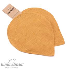 warmes gelb – 2 Untersetzer aus 100% Leinen