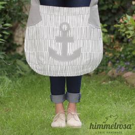 Anker-Applikation grau/weiß – Sommertasche