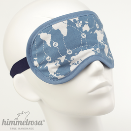 Kontinente & Flugrouten, blau/weiß – Schlafbrille