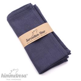 jeansblau – 2 Servietten aus 100% Leinen