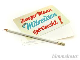 """Postkarte/Aufkleber """"Junger Mann zum Mitreisen gesucht!"""""""