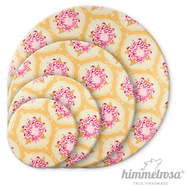 rosa Blüten auf lindgrün – Abdeckhaube