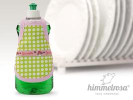 Glückspilz Webband auf grünem Stoff mit weißen Punkten.rosa – Spülischürze