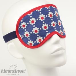Retro-Blumenmuster, blau/weiß/rot – Schlafbrille