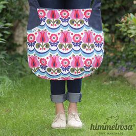 Vintage Blumenmuster pink/blau – Sommertasche