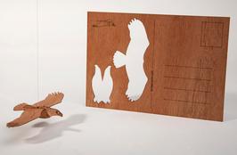 Holzpostkarte Adler 5er-Pack