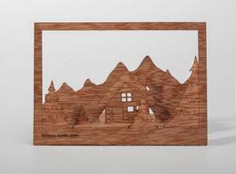 Holzpostkarte Winterlandschaft 5er-Pack