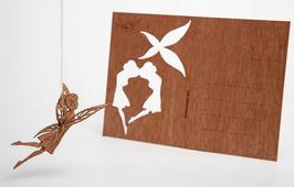 Holzpostkarte Elfe 5er-Pack