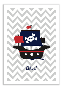 Print - Piraten-schiff Grau