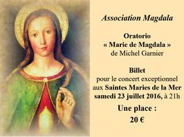 Billet unitaire Concert du 23 juillet 2016 aux Saintes Maries de la Mer