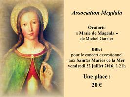 Billet unitaire Concert du 22 juillet 2016 aux Saintes Maries de la Mer
