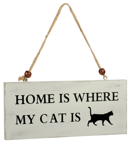 Artikel-Nr. 034S - Shabby Vintage Holzschild - Home is where my cat is