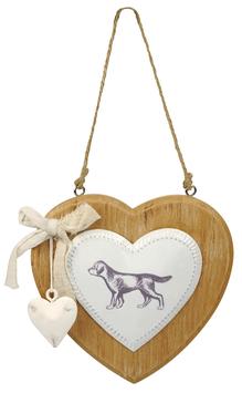 Artikel-Nr. 034U - Holzschild mit Metallherz Motiv Hund
