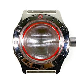 Gehäuse 100 AMPHIBIA Standardausführung für VOSTOK AMPHIBIA Uhren, Stundenlünette, Edelstahl, poliert, komplett