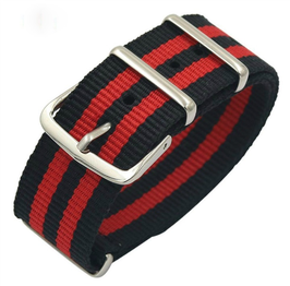 18mm NATO strap for VOSTOK watches, nylon, black with two red stripes