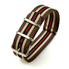 18mm NATO strap for VOSTOK watches, nylon, brown-beige-green-red, NATO07-18mm