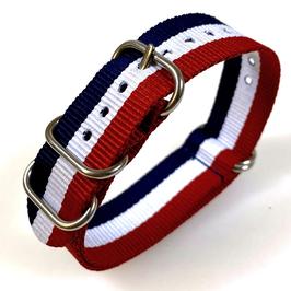 18mm ZULU strap for VOSTOK watches, nylon, blue white red, ZULU07-18mm