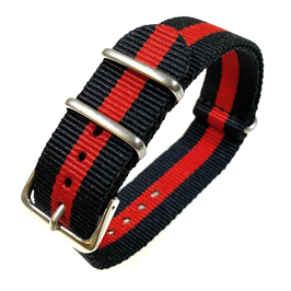22mm NATO strap for VOSTOK watches, nylon, black red, NATO07-22mm
