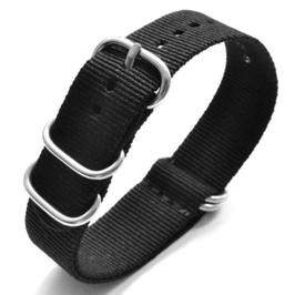 18mm ZULU strap for VOSTOK watches, nylon, black, ZULU03-18mm