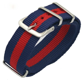 18mm NATO strap for VOSTOK watches, nylon, blue with red stripe, NATO06-18mm