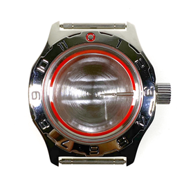 Case 100 for VOSTOK AMPHIBIA watches, bezel with hour scale, stainless steel, polished, complete