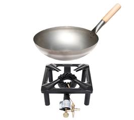 Hockerkocher-Set mit Stahl-Wok Ø 30 cm - mit Zündsicherung