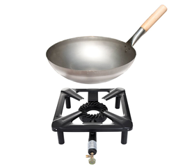 Hockerkocher-Set mit Stahl-Wok Ø 30 cm