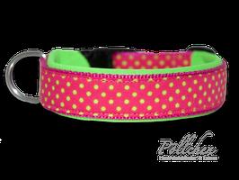 Pöllchen Komforthalsband Punkte Pink Limette