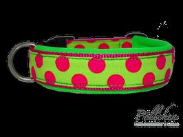 Pöllchen Komforthalsband Big Dots Pink Lime