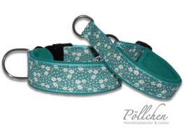Pöllchen Komfort-Zugstopphalsband Gänseblümchen Petrol