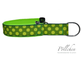 Pöllchen Komfort-Zugstopphalsband Big Dots Grün Neongelb